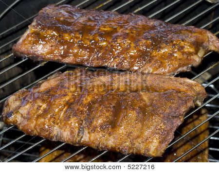 Barbecue Ribs In Smoker