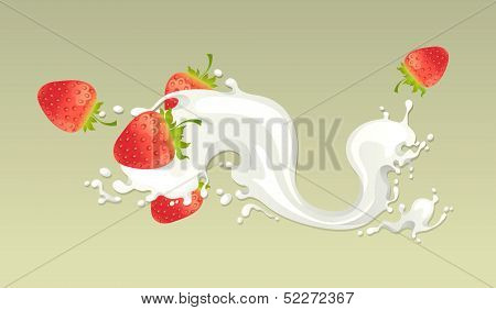 Milk splash with strawberry