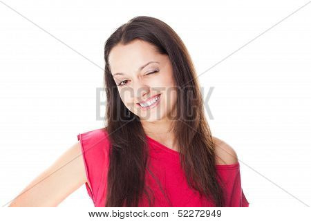 Smiling Woman Winks Isolated On White
