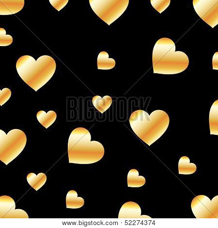 Background with golden hearts