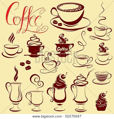 Set Of Coffee Cups Icons, Stylized Sketch Symbols