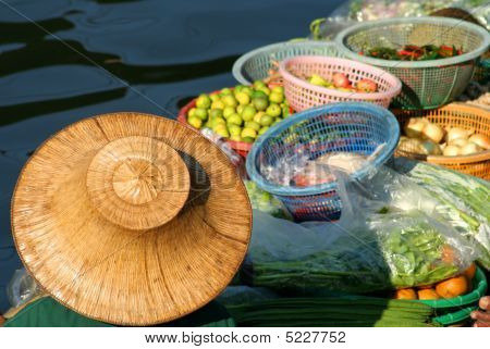 Fruits On Sale On Floating Market