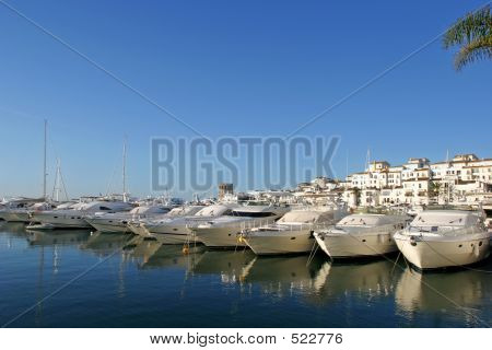 Luxury Yachts At Sunrise In Puerto Banus, Spain