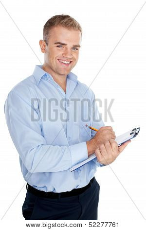 Young Business Man Taking Notes Isolated On White