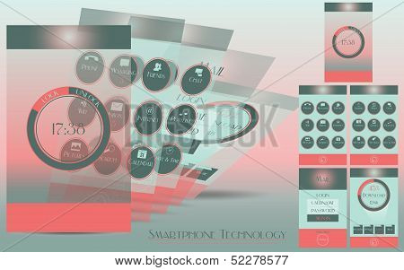 Smartphone technology - apps - vector