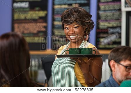 Beautiful Woman Serving Drinks