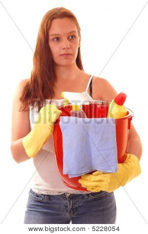 Woman Housecleaning.