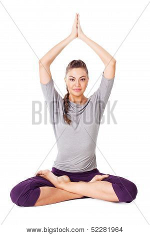 Young Woman Doing Yoga Exercise Padmasana (lotus Pose). Isolated On White Background