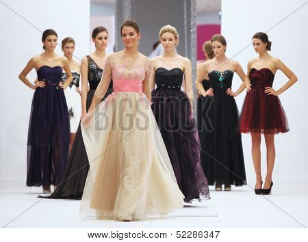ZAGREB, CROATIA - OCTOBER 12: Fashion model in wedding dress on 'Wedding Expo' show in the Westgate Shopping City in Zagreb, Croatia on October 12, 2013