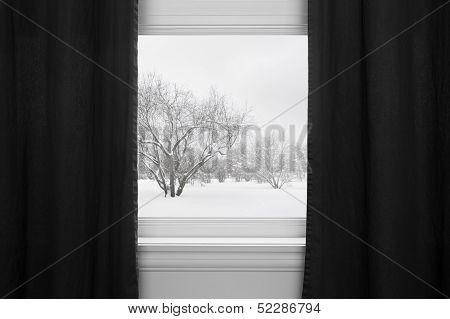 Winter Landscape Behind Black Curtains
