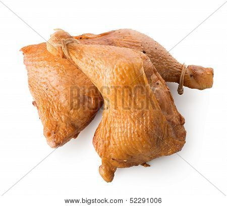 Two smoked chicken legs