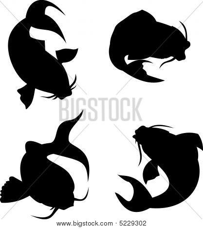Koi Carp Silhouette Stock vector