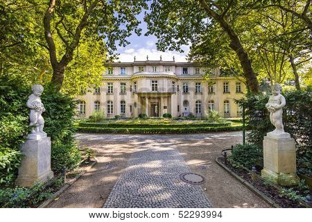 The Wannsee House in the Berlin suburb of Wannsee. The villa was used by senior members of the Nazi party as a conference center for the implementation of the Holocaust.