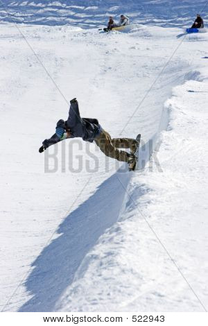 Snowboarder On Half Pipe Of Prodollano Ski Resort In Spain