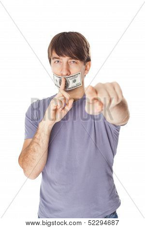 Young Man With His Mouth Sealed By A Hundred Dollar Bills Isolated On White Background