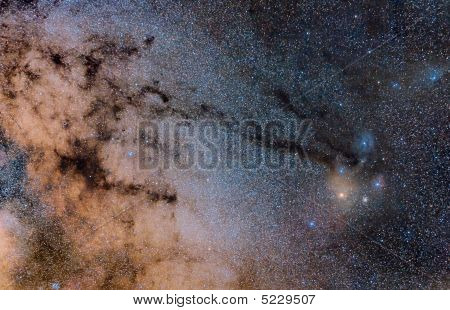 Stars And Nebulae In Sagittarius And Rho Ophiuchi