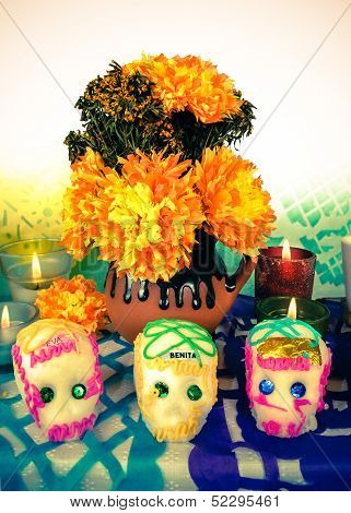 Sugar Skulls On Day Of The Dead (dia De Muertos)
