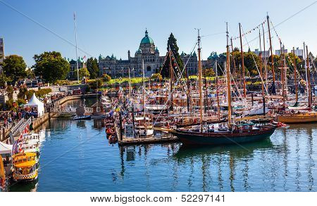 Provincial Capital Legislative Building Wooden Boats Inner Harbor British Columbia Canada