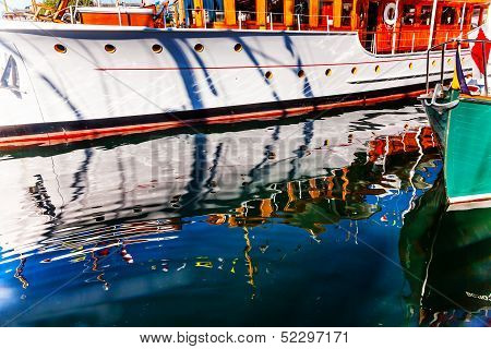 Wooden Boats Reflection Abstract Inner Harbor British Columbia Canada