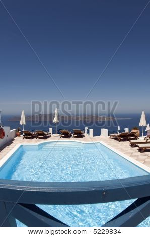 Swimming Pool Over Sea Santorini