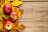 Three Apples On Autumn Leaves On Wooden Background