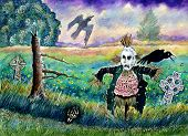 Halloween Field With Scarecrow Skeleton Hand And Crows