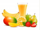 stock photo of mango  - Fresh color fruit and juice - JPG