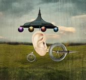 stock photo of surrealism  - Beautiful artistic image that represent a human ear with surreal wheels and mechanic object in a surreal background - JPG