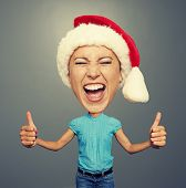 picture of rapture  - funny picture of screaming woman in santa hat - JPG