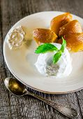 foto of tarts  - Tarte Tatin French Dessert with ice scream