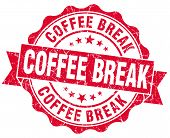 Coffee Break Red Grunge Stamp