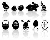 pic of baby chick  - Set of black Easter icons on white background - JPG