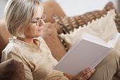 foto of time study  - Pretty mature woman passing her time by reading a book - JPG
