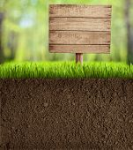 image of underworld  - soil cut in garden with wooden sign - JPG