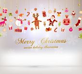 stock photo of snowman  - Christmas set of icons and elements - JPG
