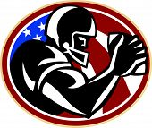 picture of scat  - Illustration of an american football gridiron wide receiver running back player running with ball facing side set inside oval with stars and stripes flag done in retro style set inside ball  - JPG