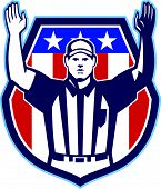 stock photo of referee  - Illustration of an american football official referee with hand pointing up for a touchdown facing front set inside crest shield with stars and stripes flag done in retro style - JPG