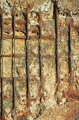 picture of outdated  - Detail of old outdated reinforced concrete structures with rusty iron rods outside - JPG