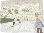 foto of tourist-spot  - Illustration Featuring Tourists Roaming Around the Wailing Wall in Israel - JPG