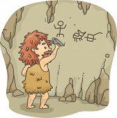 stock photo of caveman  - Illustration of a Caveman Etching Figures on the Walls of a Cave Using a Piece of Stone - JPG