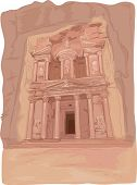 Illustration Featuring the Al Khazneh Temple in Petra, Jordan