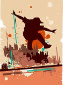 pic of parkour  - Illustration Featuring the Silhouette of a Parkour Practitioner Against a Grunge Themed Background - JPG