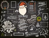 stock photo of drawing  - Christmas Design Elements on Chalkboard  - JPG