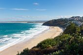 image of st ives  - Carbis Bay Cornwall England near St Ives and on the South West Coast Path with a sandy beach on a beautiful blue sky sunny day - JPG