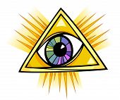 stock photo of freemason  - Eye of Providence Cartoon Illustration Clip Art - JPG