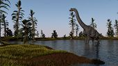 brachiosaurus in lake