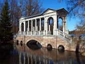 stock photo of tsarskoe  - Famous Marble bridge in Tsarskoe selo - JPG
