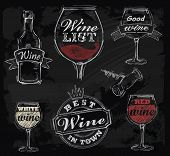stock photo of red meat  - vector chalk wine set on chalkboard background - JPG