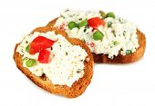 pic of hardtack  - Sandwiches with cottage cheese and greens isolated on white - JPG