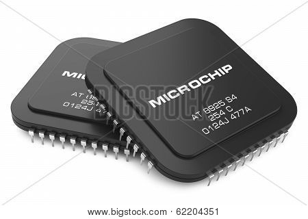 Black Microchips Isolated On White Background